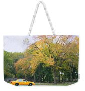 Yellow Nyc Taxi Driving Through Central Park Usa Weekender Tote Bag