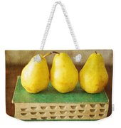 Yellow Pears And Vintage Green Book Still Life Weekender Tote Bag