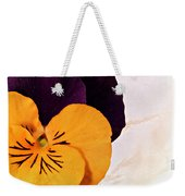 Yellow Purple Pansy Weekender Tote Bag