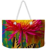 Yellow Red Mum With Yellow Black Butterfly Weekender Tote Bag