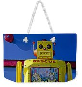 Yellow Robot In Front Of Drawers Weekender Tote Bag