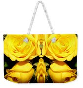 Yellow Roses Mirrored Effect Weekender Tote Bag