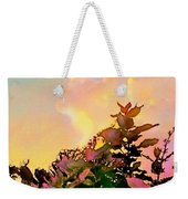 Yellow Sunrise And Flowers - Vertical Weekender Tote Bag