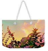 Yellow Sunrise With Flowers - Square Weekender Tote Bag