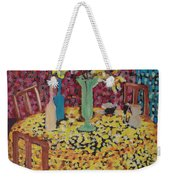 Yellow Table Weekender Tote Bag by Karen Coggeshall
