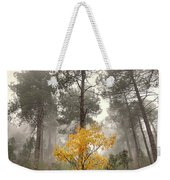 Yellow Tree In The Foggy Forest Weekender Tote Bag