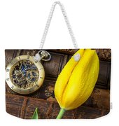 Yellow Tulip On Old Books Weekender Tote Bag