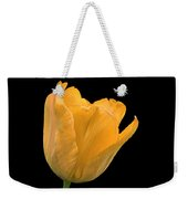 Yellow Tulip Open On Black Weekender Tote Bag