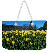 Yellow Tulips Before White Picket Fence Weekender Tote Bag