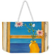 Yellow Vase With Sea View Weekender Tote Bag by Pamela Allegretto