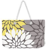 Yellow White Grey Peony Flowers Weekender Tote Bag