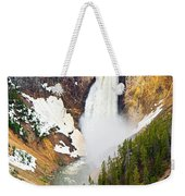 Yellowstone Falls In Spring Time Weekender Tote Bag
