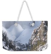 Yellowstone -  Lower Falls In Winter Weekender Tote Bag