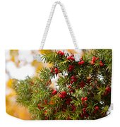 Taxus Baccata Or Yew Red Fruits On Twig  Weekender Tote Bag