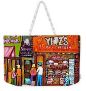 Yitzs Deli Toronto Restaurants Cafe Scenes Paintings Of Toronto Landmark City Scenes Carole Spandau  Weekender Tote Bag