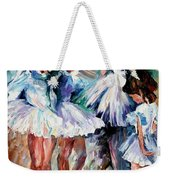 Young Ballerinas - Palette Knife Oil Painting On Canvas By Leonid Afremov Weekender Tote Bag