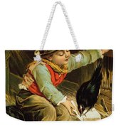 Young Boy With Birds In The Snow Weekender Tote Bag