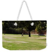 Young Boys Playing Cricket In A Park Near Delhi Zoo Weekender Tote Bag