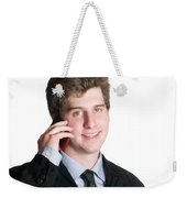 Young Business Man On The Cell Phone Weekender Tote Bag