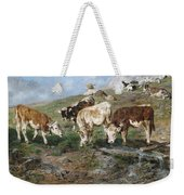 Young Cattle In Tyrol Weekender Tote Bag