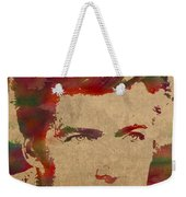 Young Clint Eastwood Actor Watercolor Portrait On Worn Parchment Weekender Tote Bag