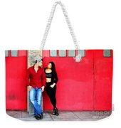 Young Couple Red Doors Weekender Tote Bag