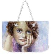 Young Girl Child Watercolor Portrait  Weekender Tote Bag by Svetlana Novikova
