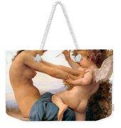 Young Girl Defending Herself Against Cupid Weekender Tote Bag