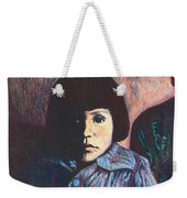 Young Girl In Blue Sweater Weekender Tote Bag