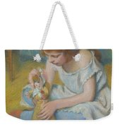 Young Girl Playing With A Doll Weekender Tote Bag