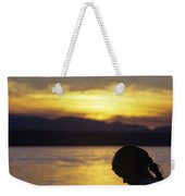 Young Girl Silhouetted Reading A Book On The Beach At Sunset Weekender Tote Bag