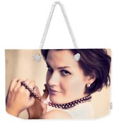 Young Glamour Lady With Gold Necklace Weekender Tote Bag
