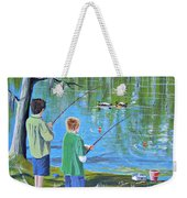 Young Lads Fishing Weekender Tote Bag