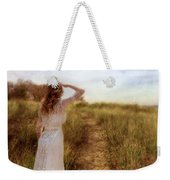 Young Lady In Vintage Clothing Watching A Biplane Weekender Tote Bag