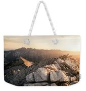 Young Man Scrambles To The Summit Weekender Tote Bag