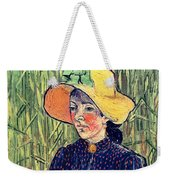 Young Peasant Girl In A Straw Hat Sitting In Front Of A Wheatfield Weekender Tote Bag