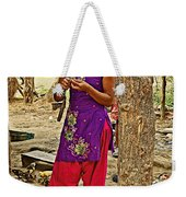 Young Tharu Village Woman In Traditional Nepali Clothing-nepal  Weekender Tote Bag
