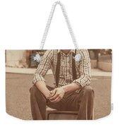 Young Vintage Man Seated On Old Tv Weekender Tote Bag