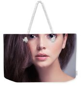 Young Woman Anime Style Beauty Portrait With Beautiful Large Gra Weekender Tote Bag