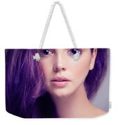 Young Woman Anime Style Beauty Portrait With Large Eyes And Purp Weekender Tote Bag