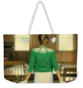 Young Woman Balancing A Book On Her Head Weekender Tote Bag