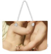 Young Woman Contemplating Two Embracing Children Detail II Weekender Tote Bag by William Bouguereau