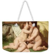 Young Woman Contemplating Two Embracing Children Detail Weekender Tote Bag