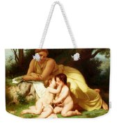 Young Woman Contemplating Two Embracing Children Weekender Tote Bag