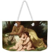 Young Woman Contemplating Two Embracing Children Weekender Tote Bag by William Bouguereau