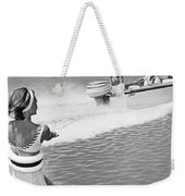 Young Woman Slalom Water Skis Weekender Tote Bag