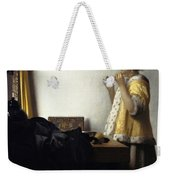 Young Woman With A Pearl Necklace Weekender Tote Bag