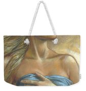 Young Woman With Blue Drape Crop Weekender Tote Bag