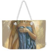 Young Woman With Blue Drape Weekender Tote Bag