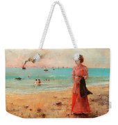Young Woman With Red Umbrella Weekender Tote Bag